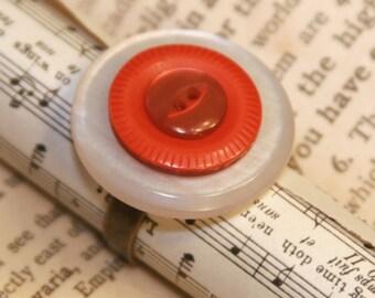Cherry Pie - Vintage Button Ring