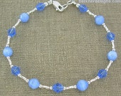 Shimmering Sapphire Blue Ankle Bracelet - Small to Large Sizes - 9 inch, 10 inch, 11 inch, 12 inch, 13 inch, or 14 inches