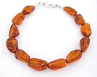 Amber Anklet - 9 inch, 10 inch, 11 inch, 12 inch, 13, or 14 inch Amber Ankle Bracelet, Sm - Plus Size Anklet in Natural Baltic Amber Nuggets