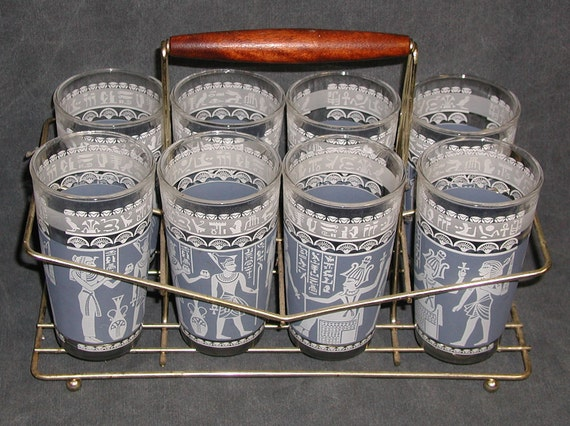 Mid-Century Egyptian Pharaoh Barware GLASS Set of 8 HIGHBALL w/ Caddy by Anchor Hocking Vintage. CrabbyCats, Crabby Cats