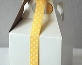 May Arts Yellow/White Grosgrain Dot Ribbon - 5/8 inch (5 yards)
