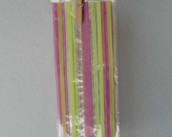 Printed Cellophane Bags - Pink & Lime Green Stripe (Set of 44)