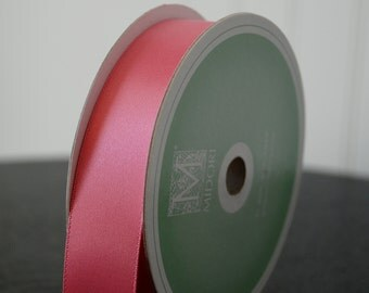 Midori Embossed-Edge Double Faced Satin - 1 inch - Bubblegum Pink (5 YDS)