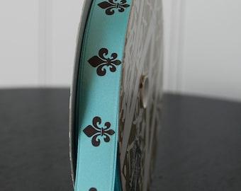 Midori Double-Faced Satin Fleur de lis - 5/8 inch - Aquamarine (5 YDS)