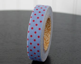 Fabric Tape - Blue with Red Polka Dots - 1 Roll