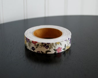 Fabric Tape - Ivory Large Floral Print  (1 Roll)