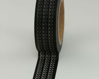 Washi Tape - Black with White Loops - 15mm (1 roll)
