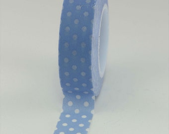 Washi Tape - Periwinkle with White Dots - 15mm (1 roll)