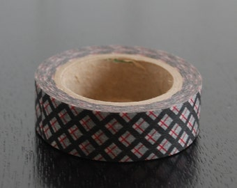 Washi Tape - Black and Red Argyle - 15mm (1 roll)