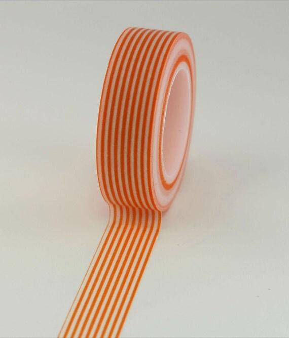 Washi Tape - Orange Striped - 15mm (1 roll)