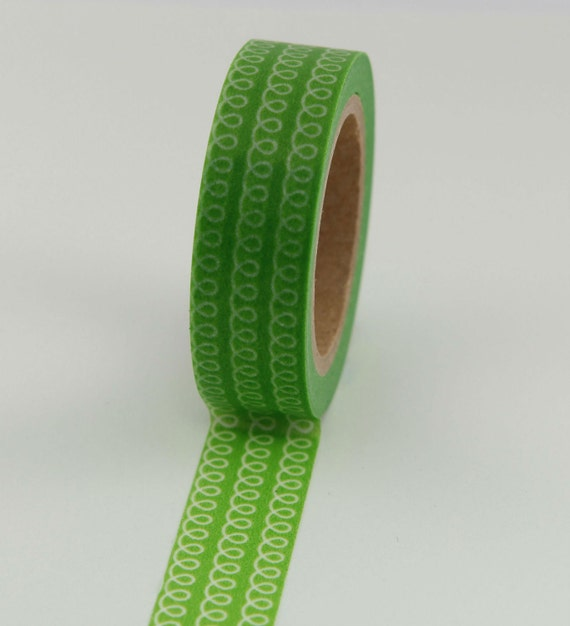 Washi Tape - Green with White Loops - 15mm (1 roll)