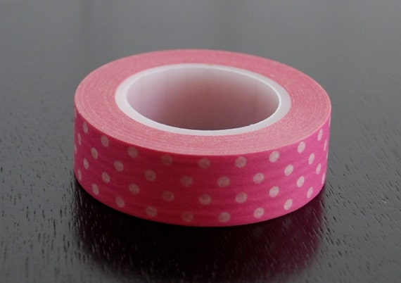 Washi Tape - Pink with White Dots - 15mm (1 roll)