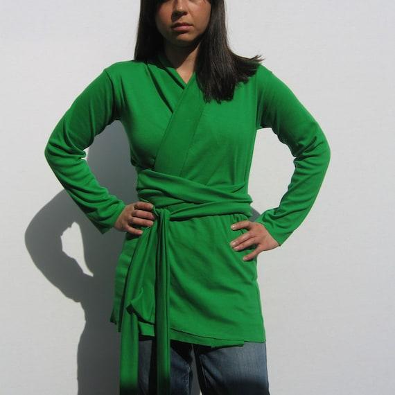 Kelly Green Wrap Top in Cotton Jersey/ Cardigan/ Belt/ Long Sleeve/ Women/ Handmade