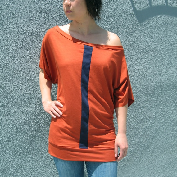 Size M/L READY TO SHIP  Off the Shoulder Tunic in Burnt Orange and Navy