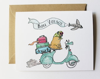 Any Occasion Card, Good Luck Card - Bon Voyage Pug
