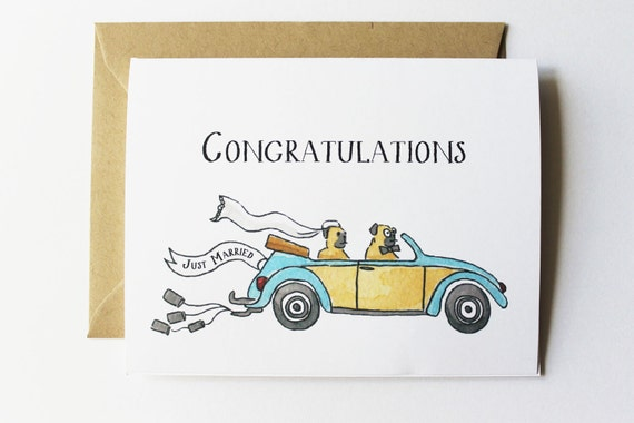 Wedding - Anniversary Card - Just Married Congratulations
