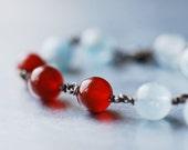 CLOSING SALE - Carnelian Aquamarine Sterling Silver Bracelet - Red Sand Blue Sky