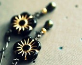 Black Glass Flower, Pearl and Sterling Silver Earrings - Midnight Garden