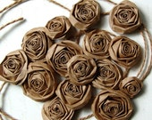 Recycled Paper Bag handmade paper roses SET of 15 sixteenpawz-4-thought kraft paper flowers upcycled