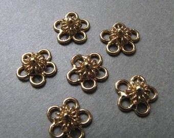 6 Gold Vermeil Flower Link Connector Dangles - 9mm