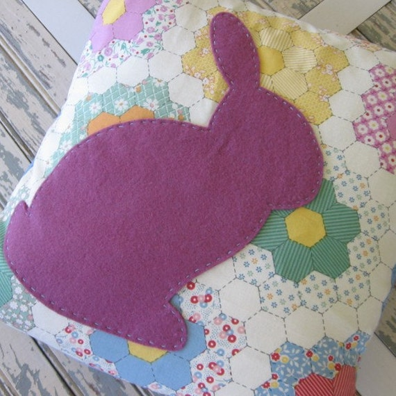 Pillow with Bunny Applique