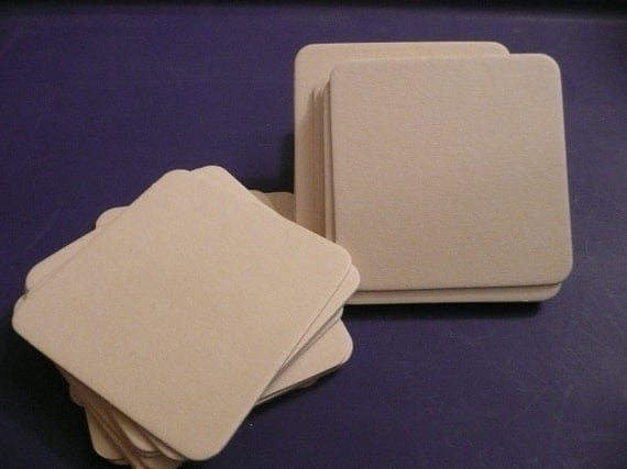 NEW SIZE  lot of 50  HEAVYWEIGHT 3.5x3.5 inch blank square chipboard coasters