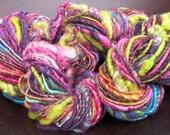 Corespun Art Yarn- Plum Crazy 138 yards merino, alpaca, bamboo