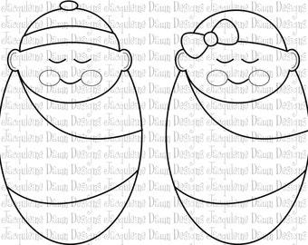Digital Stamp - Sleeping Babies/Infants