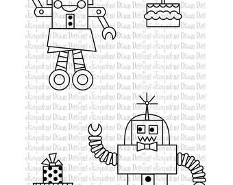 Digital Stamp - Rita and Robbie Robot Birthday