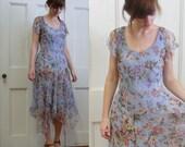 Light Blue Silk Asymmetrical Hem Dress, 6/8