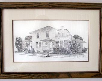 FLORIDA HOUSE Framed Original Drawing