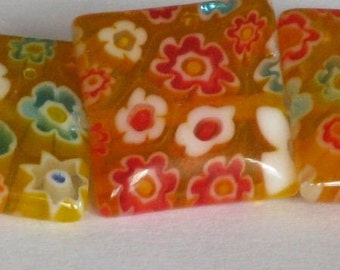 Golden Yellow Millefiori Glass Square Glass Beads - 12mm -11-12 inch
