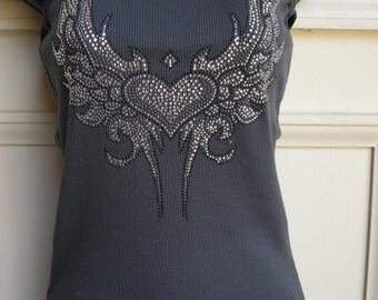 Nouveau Heart in Clear and Black Crystals Tank