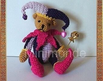 Jester bear amigurumi crochet pattern, digital pattern
