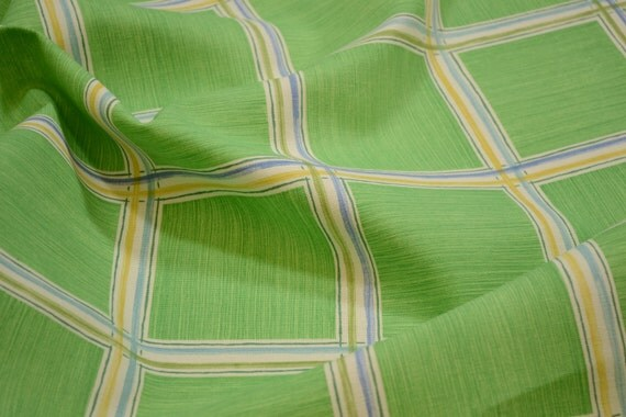 1326 Discount Upholstery High End Waverly Squares Print White Green Turquoise and Yellow