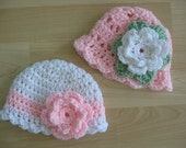 Crochet Baby Girl Newborn to 3 months Hats Set of 2 Boutique