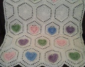 Crochet Personalized Baby Girl Hearts Blanket