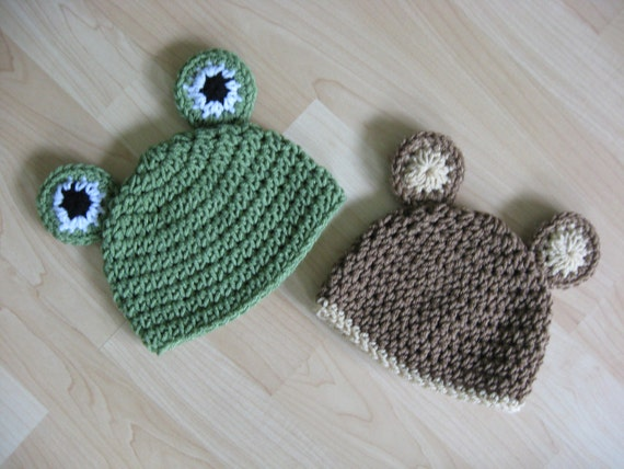 SALE You Choose Size Bear and Frog Hats