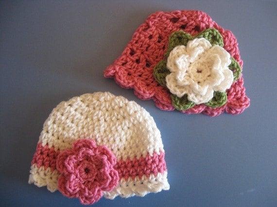 Newborn 3 mth Baby Girl Crochet Hats