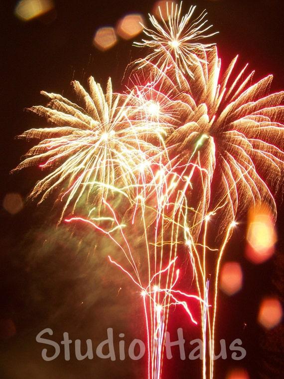 Rainy Fireworks - 5x7 - Celebration, Red, Rouge, Fire, Pyro, Yellow, Bright - Fine Art Photography Print