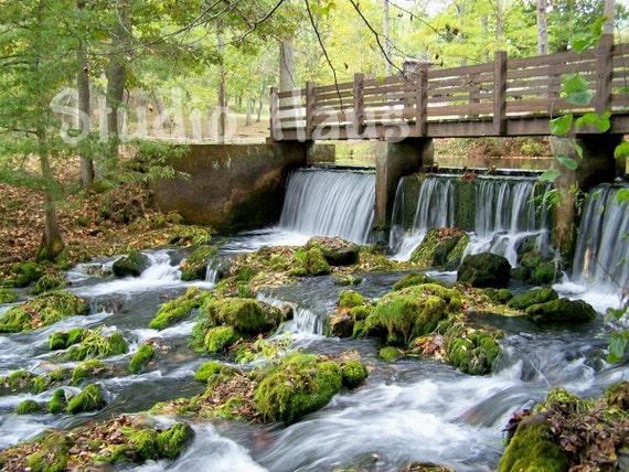 Waterfall Part 1 - 8x10 - Nature, Landscape, Green, Waterfall, Bridge - Fine Art Photography Print