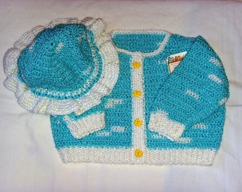 Crocheted Girls Sweater and Hat Set with Ducky Buttons