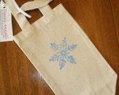 SALE! Snowflake Print - Recycled Canvas Wine Bag