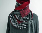 AOMORI  MULTI-PURPOSE WRAP/NECKWARMER/SHRUG/OBI BELT POLKA DOTS AND HOUNDSTOOTH LIQUORICE WITH  BURGUNDY