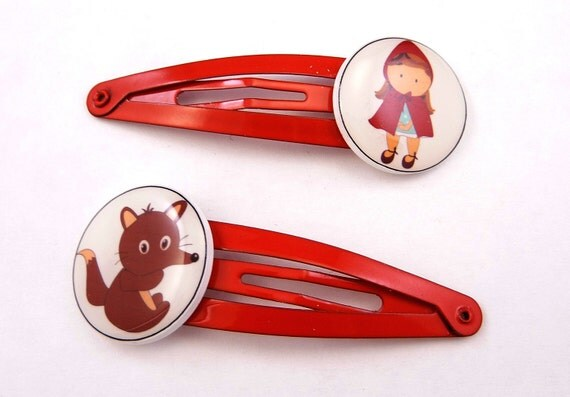 2 Red Riding Hood Barrettes.  Red Riding Hood and Wolf Hair Clip or Hair Accessories.