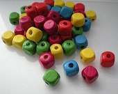 40 multi colored square wood beads