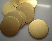 12 flat round brass discs/stamping blanks, 1 inch