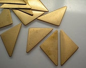 12 flat brass short triangle stamping blanks