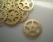 12 large brass gear-sprocket charms/stampings, 1""