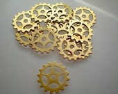 12 small brass gear-sprocket charms/stampings